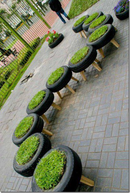 ideias para jardins gramadosJardins e hortas – reciclando pneus (2)