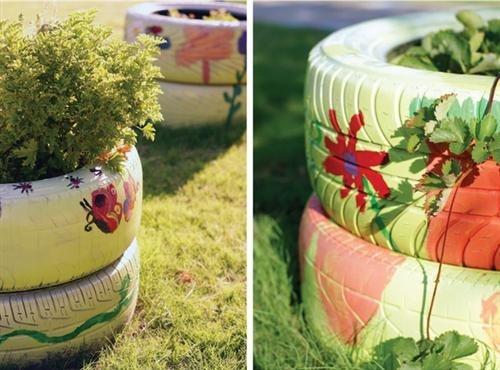 Jardins e hortas u2013 reciclando pneus (3) Jarcy Tania # Jardins Decorados Com Pneus